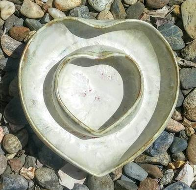 White Double Heart Dish with a hint of red glaze