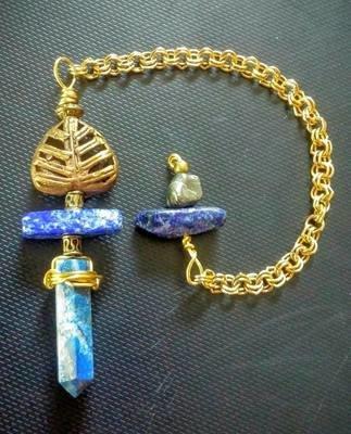 Blue Lapis Pendulum with hand made brass bead from Ghana