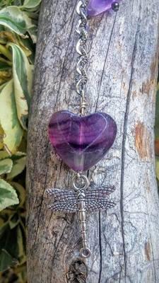 Fluorite Heart Dragonfly Pendulum