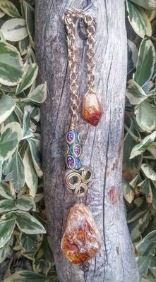 Citrine Pendulum with Handmade Brass and Glass Beads From Ghana