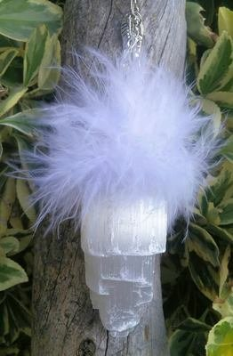 Selenite and Feather Pendulum  with Charms and Rocks Quartz