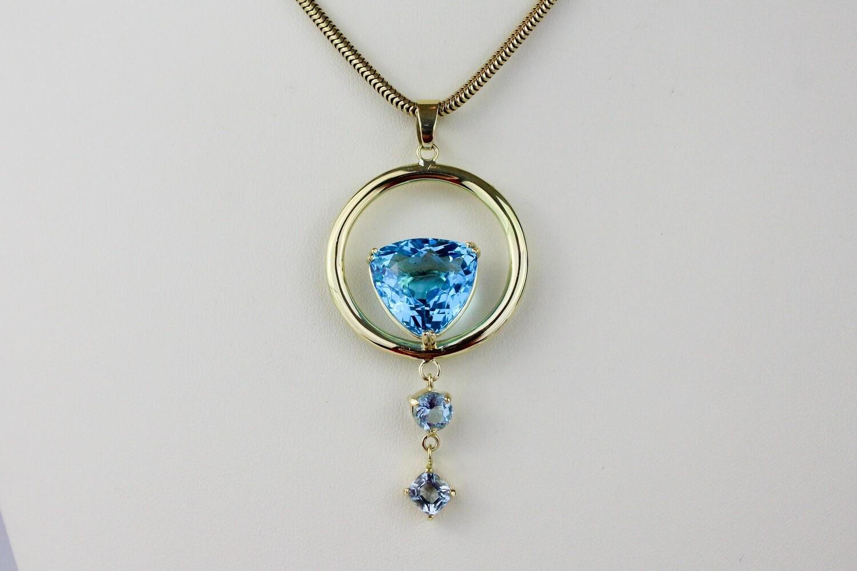 Blue Topaz and Aquamarine Pendant in 18K Gold