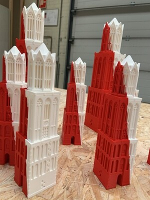 Prototype Domtoren 18cm rood/wit