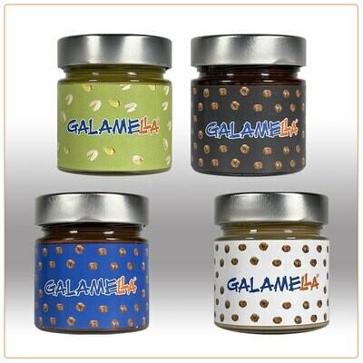 4 Creme spalmabili con olio extra vergine d'oliva: nocciola e cacao, bianca (senza cacao), fondente, pistacchio 230g