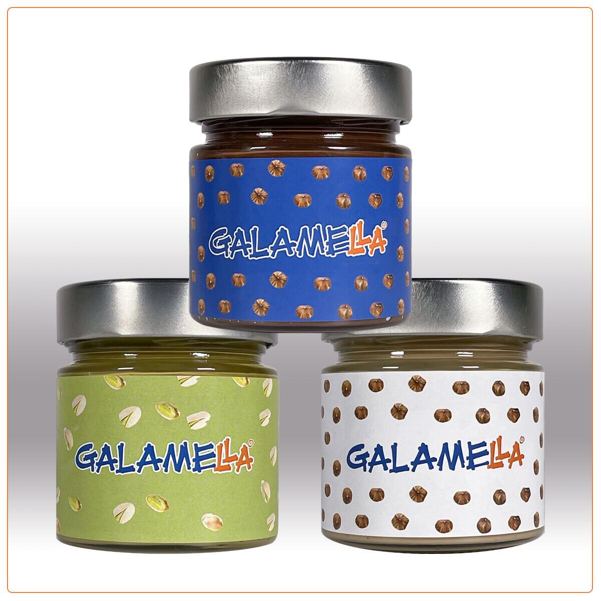 3 Creme spalmabili con olio extra vergine d'oliva: nocciola e cacao, bianca (senza cacao), pistacchio 230g