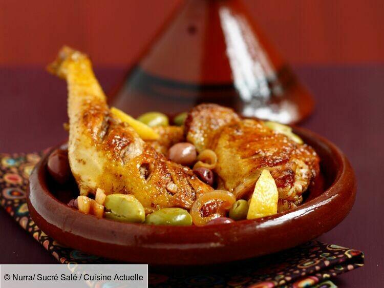 Tagine de poulet fermier aux olives et citrons confits