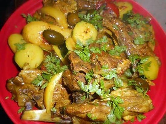 Tagine d'Agneau aux pommes de terre et olives
