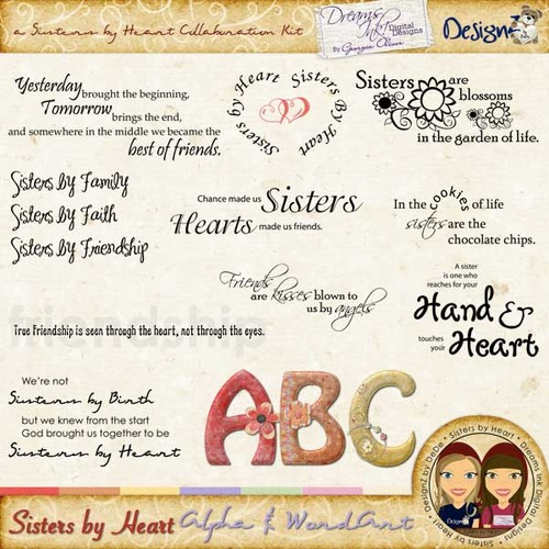 Sisters by Heart: Alpha & Wordart