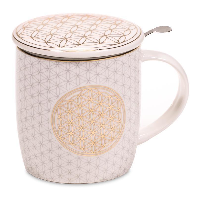Teetasse - Blume des Lebens - mit Sieb