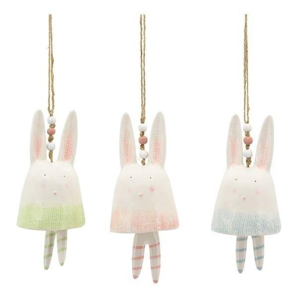 Ostern - Hase Glocke, Keramik, pink-grün-blau
