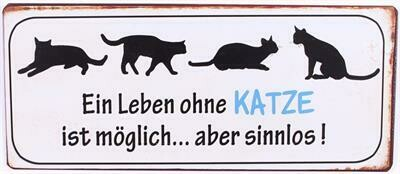 Blechschild ca. 30 x 13 cm - Katze