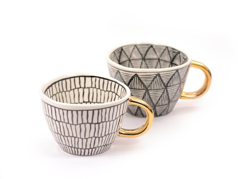 Becher, 0,2l, Keramik mit Goldhenkel