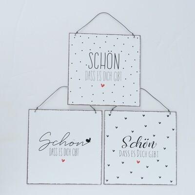 Schild - Schön, 3fach sortiert