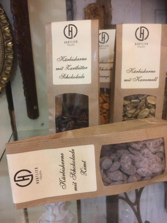 Kürbiskerne mit Zartbitter Schokolade, 100g