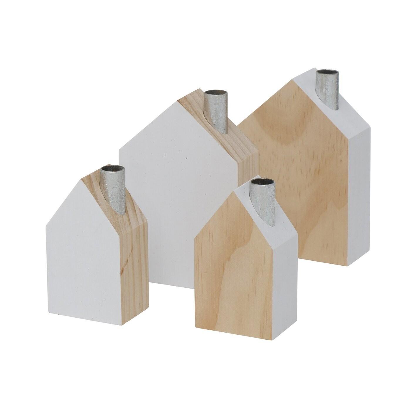 Haus, Holz, h 9 + 12 cm - Set - 2 Stück