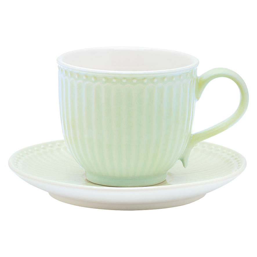Tasse + Untertasse, Alice, green, h 8,5 cm
