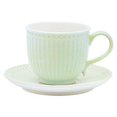 Tasse + Untertasse, Alice, green, h 8,5 cm