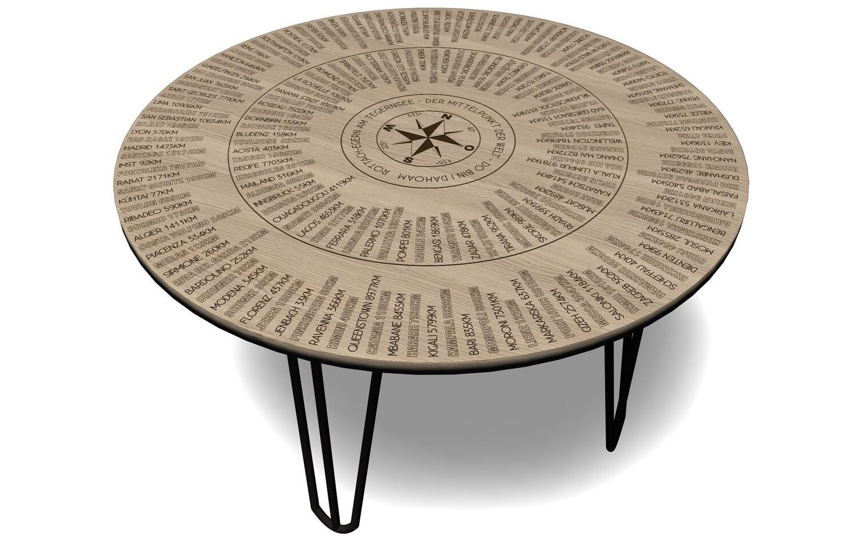 Leichter Tisch in Eiche massiv mit Haarnadelbeinen + Entfernungsberechnung, 360° Peilung, Höhe 47 - 74cm