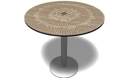 Runde Tischplatte mit Edelstahlsäule, Entfernungsberechnung und 360° Peilung, Höhe 75cm