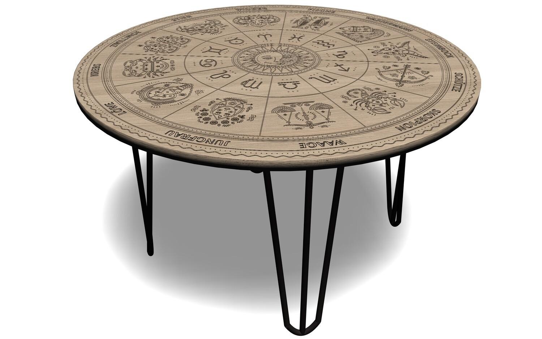 Leichter Tisch in Eiche massiv mit Haarnadelbeinen + Sternzeichensymbolen, Höhe 47 - 74cm
