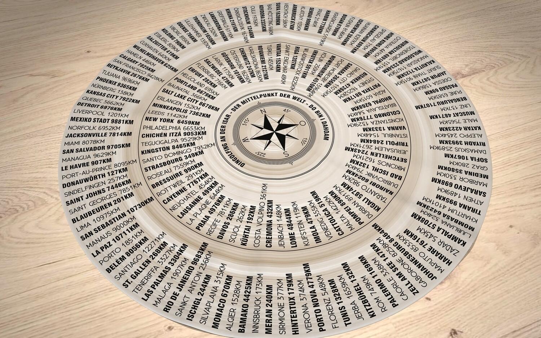Dingolfing - der Mittelpunkt der Welt. Runde Tischdecke 70cm in braun-weiß