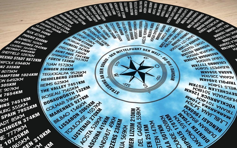 Straubing - der Mittelpunkt der Welt. Runde Tischdecke 70cm in Schwarz - Himmelblau