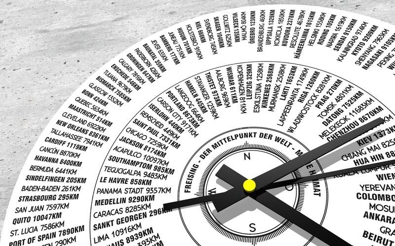 Zeit ! für .... Wanduhr 45-60cm, bedruckt mit den Entfernungsangaben aus deinem Wohnzimmer