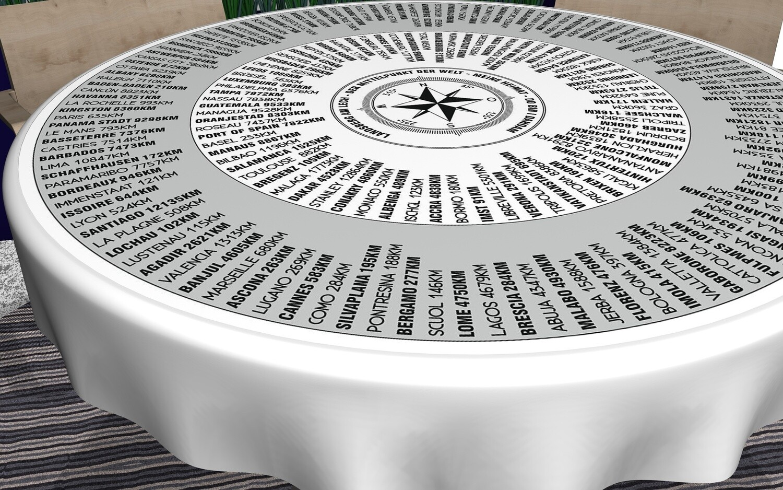 Runde Tischdecke mit Entfernung zu 200 Orten dieser Welt. Für Tische 80 - 110cm