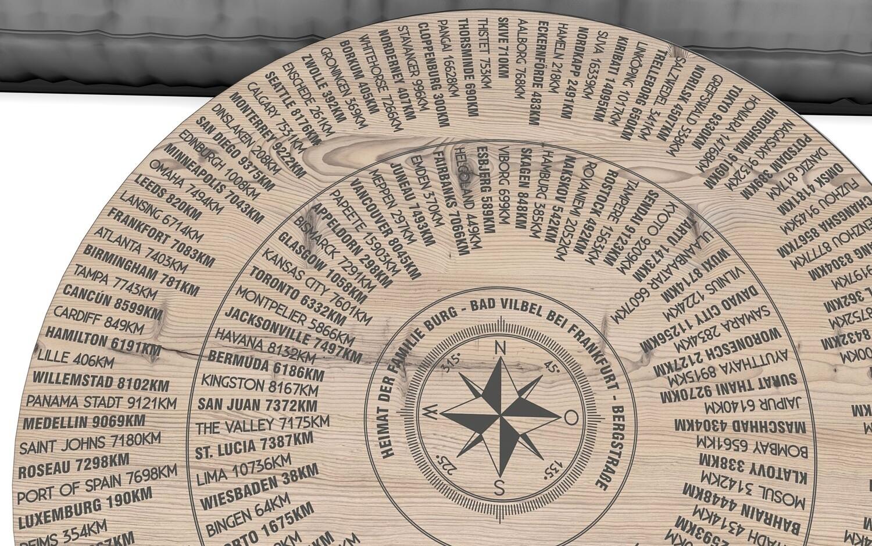 Couchtisch in Echtholz dezent bedruckt, mit Entfernungsberechnung und 360° Peilung, Höhe ca. 47cm