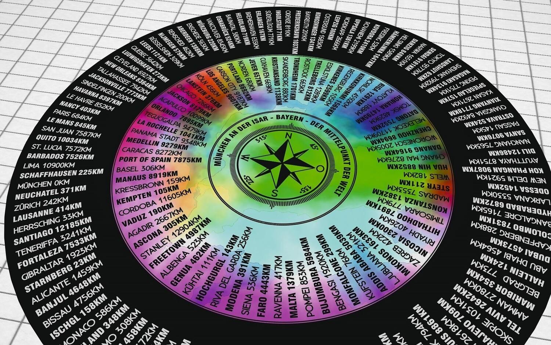 Rutschfester Fußbodenaufkleber als Kompass, 80 - 120cm