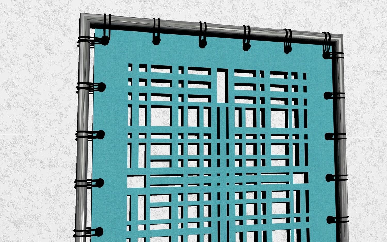 Symmetrisches Designobjekt an der Haustüre, am Balkon