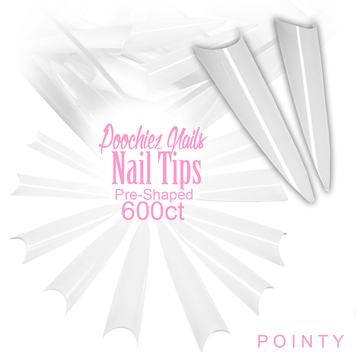 D1 POINTY NAIL TIPS 600ct  + LARGE TIP BOX SIZES 0-9