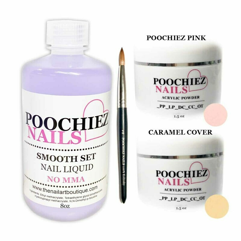 STUDENT/SAMPLE - KIT (#8 BRUSH, 1.5oz CARAMEL & 1.5oz PINK ACRYLIC - 8oz LIQUID)