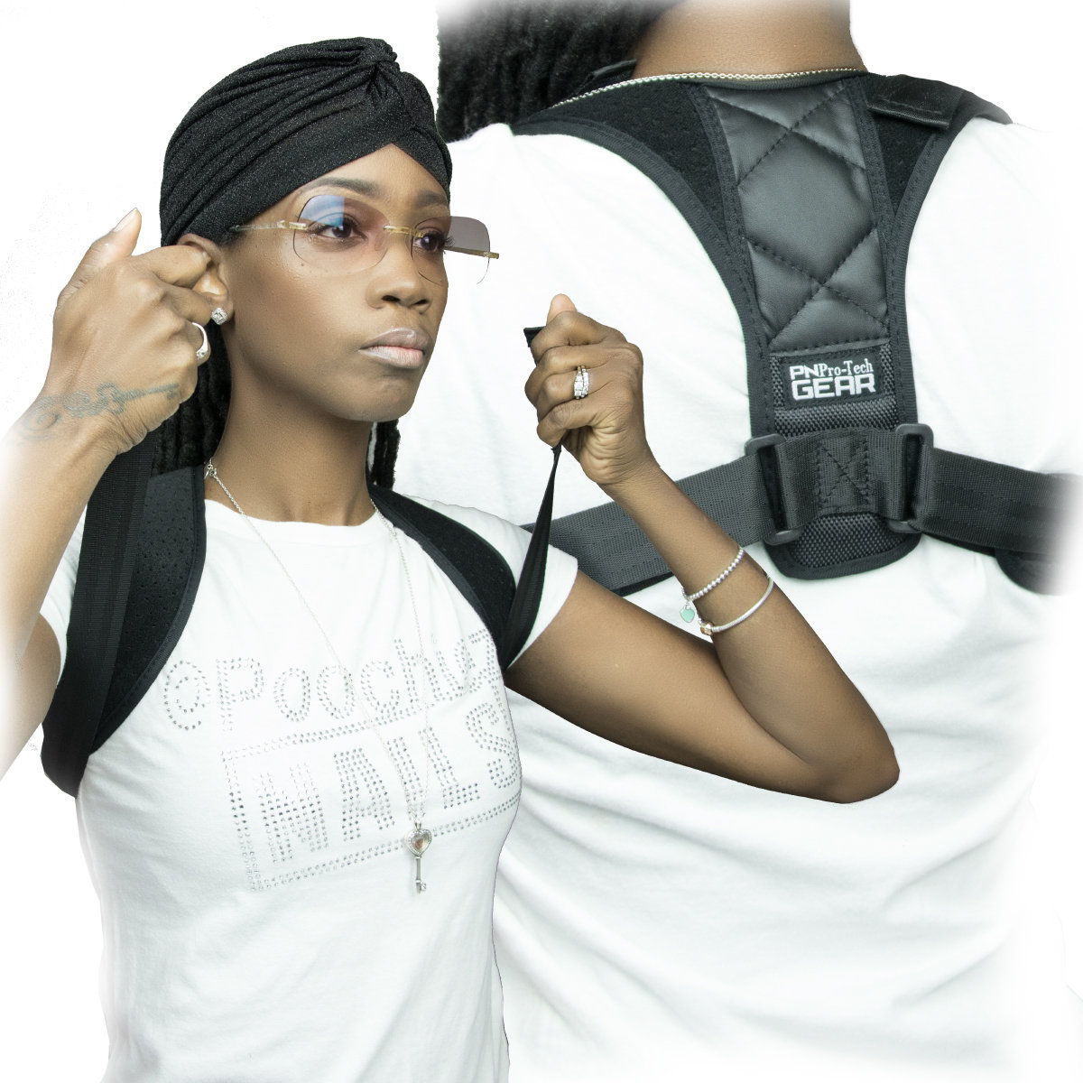 PN BACK/ POSTURE SUPPORT FITS SMALL-XXL STRAPS ARE ADJUSTABLE. (ONE SIZE FITS MOST)