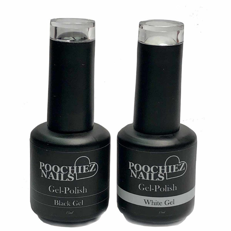 BLACK & WHITE GEL POLISH SET 2 PACK( APPLY POLISH THIN)