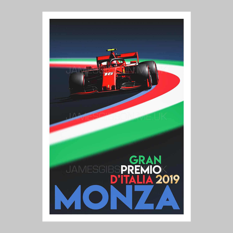 A2 Race Poster Print - Monza 2019 - Charles Leclerc