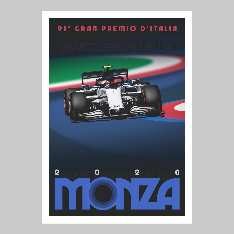 A2 Race Poster Print - Monza 2020 - Pierre Gasly