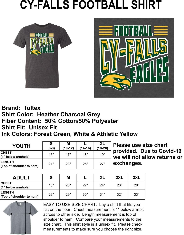 2020/2021 Cy-Falls Football Stripes T-Shirt (ADULT X-LARGE)