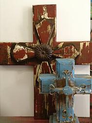 Vintage Wood Cross Table Top Lg.