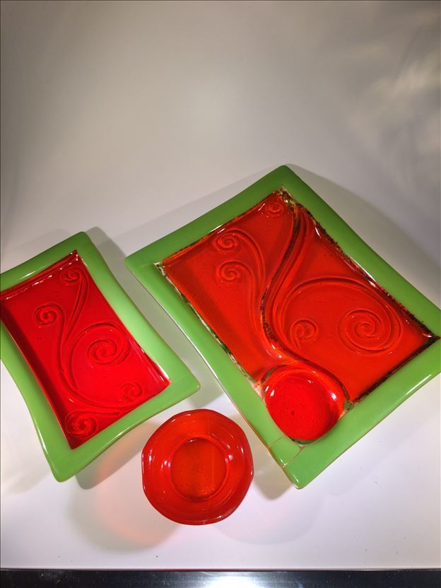 Orange/Green Platter Set