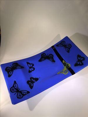 Blue butterfly platter