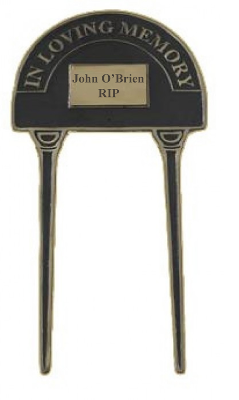 "Engraved ""In Loving Memory"" Double Stake Cast Sign (Brass)"