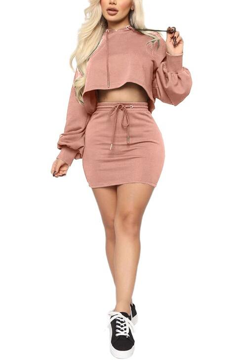 Casual Hooded Skirt Set