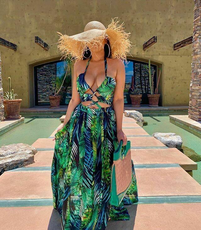 bohemian palm leaf maxi dress with high split