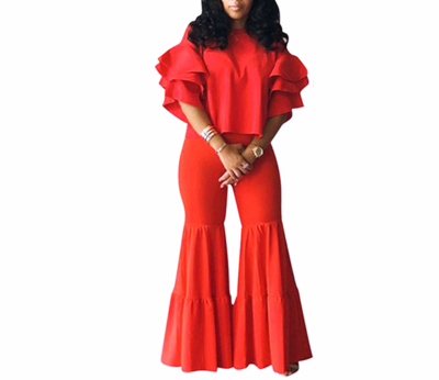 Red Layered Sleeve Wide Flared Pant  Sets