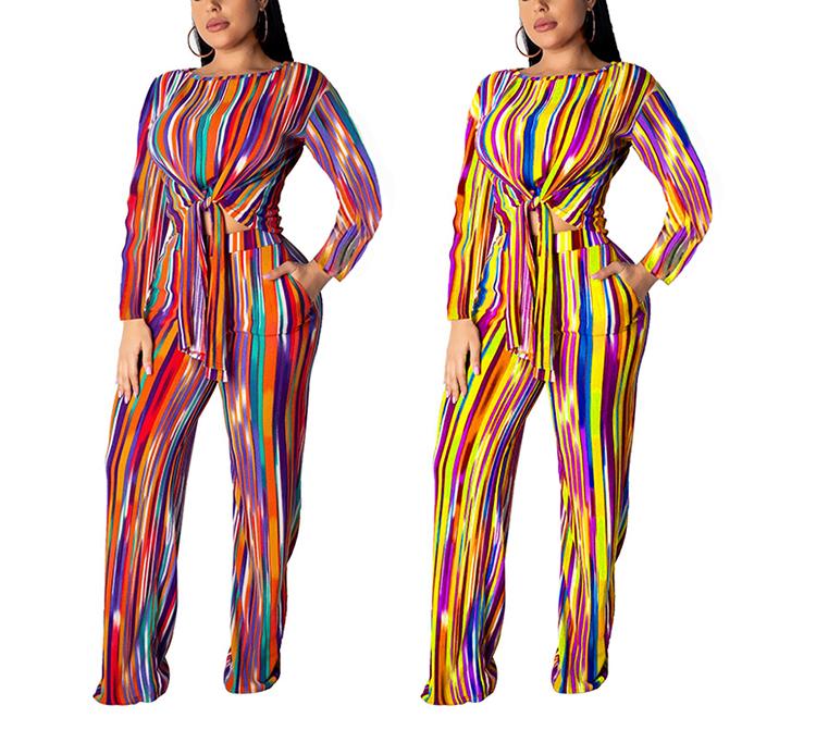 Rainbow Vertical Stripe Casual Band Straight Pants Set