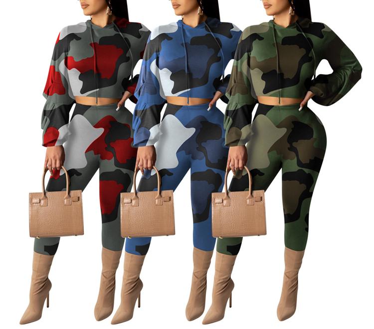 Heap Sleeve Crop Hooded Camouflage Set
