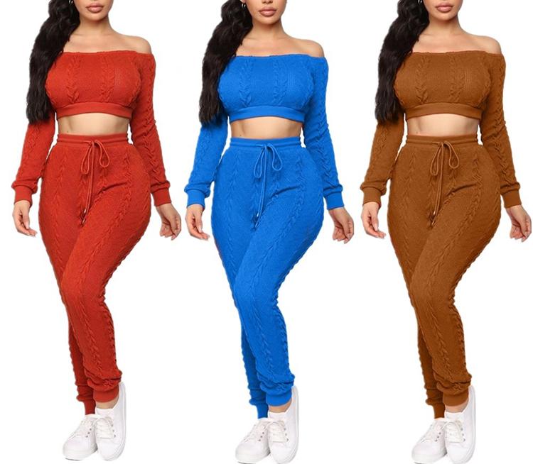 Solid Colour Crop Top Two Piece Pants Set