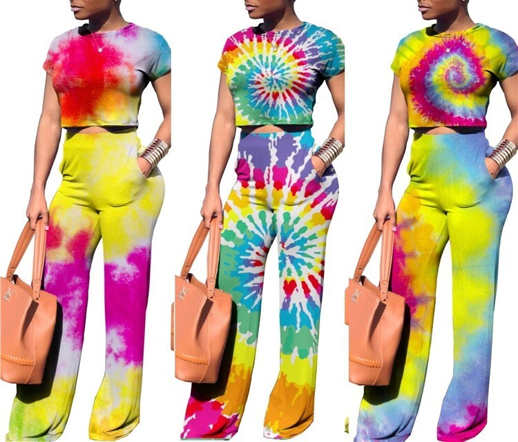 Printed Crop Top And Pants Outfits set