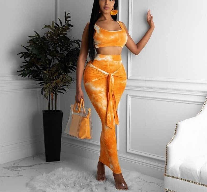 Crop Top High Waist Skirt Bodycon 2 Pieces Set